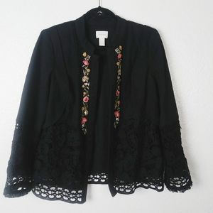 Chicos Black Lace Floral Embroidered Beaded Blazer